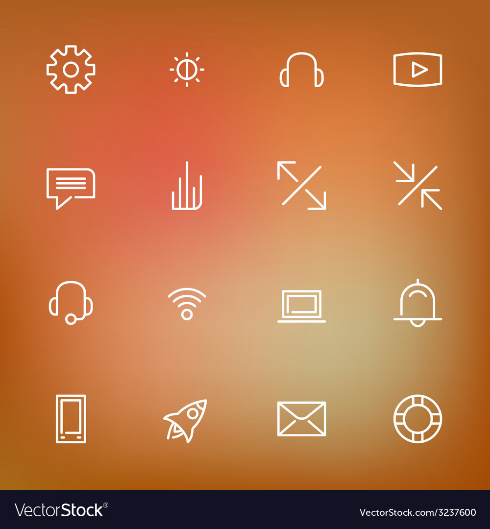 White thin line icons set for web and mobile on vector | Price: 1 Credit (USD $1)
