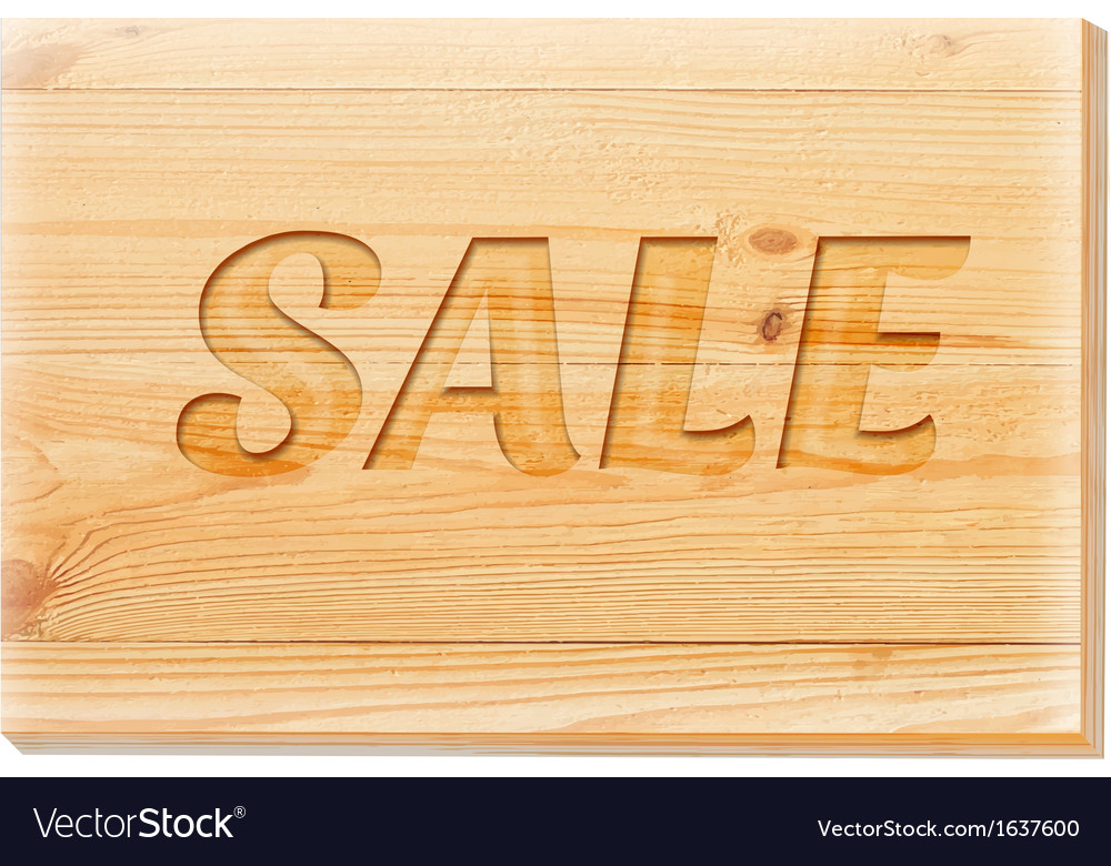 Wooden board with sale text isolated over white vector   Price: 1 Credit (USD $1)