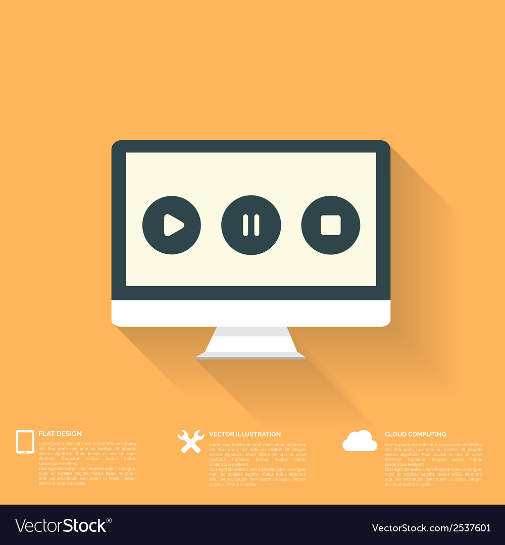 Abstract musical background with flat web icons vector | Price: 1 Credit (USD $1)