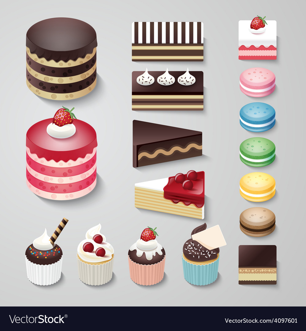 Cakes flat design dessert bakery set vector | Price: 3 Credit (USD $3)