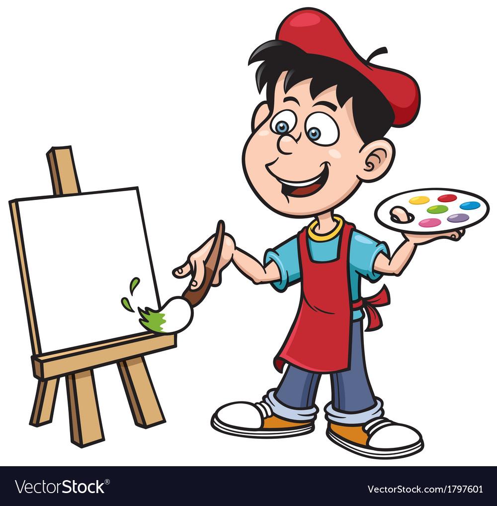 Cartoon artist boy vector | Price: 1 Credit (USD $1)