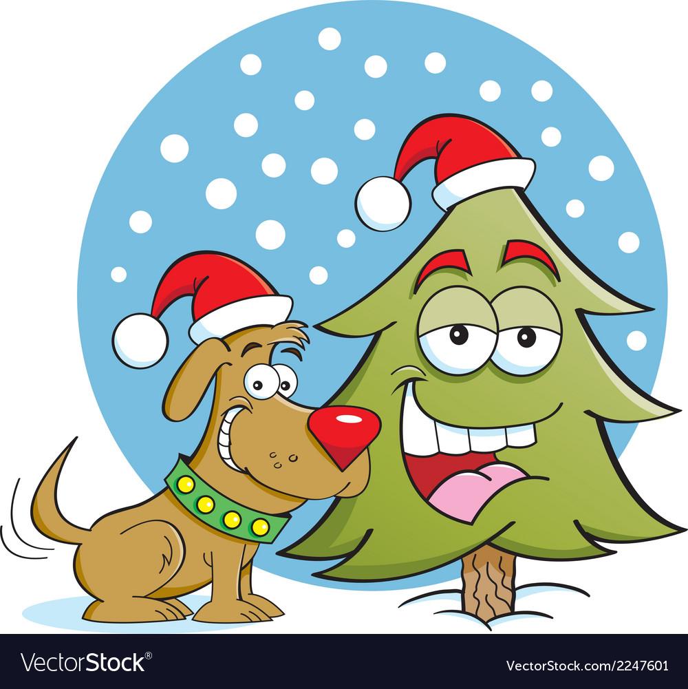 Cartoon christmas dog and tree vector | Price: 1 Credit (USD $1)