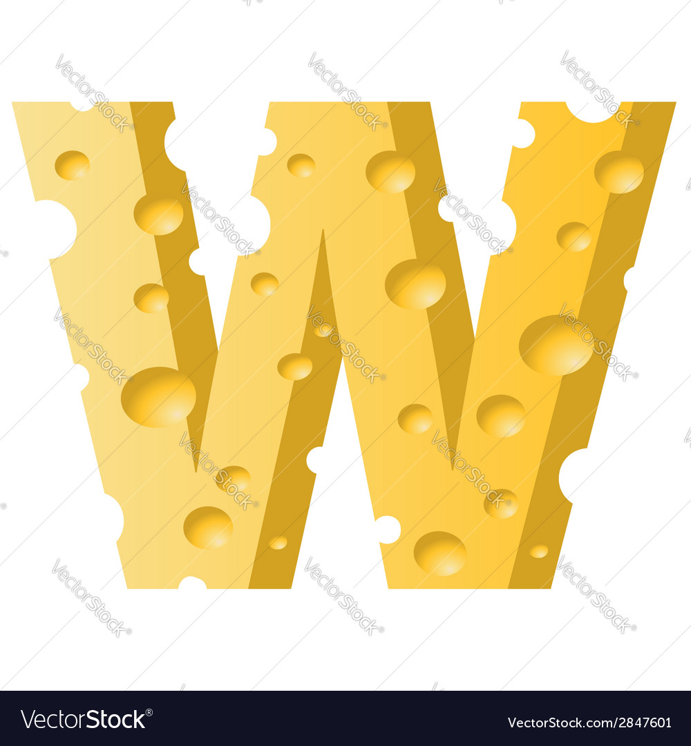 Cheese letter w vector   Price: 1 Credit (USD $1)