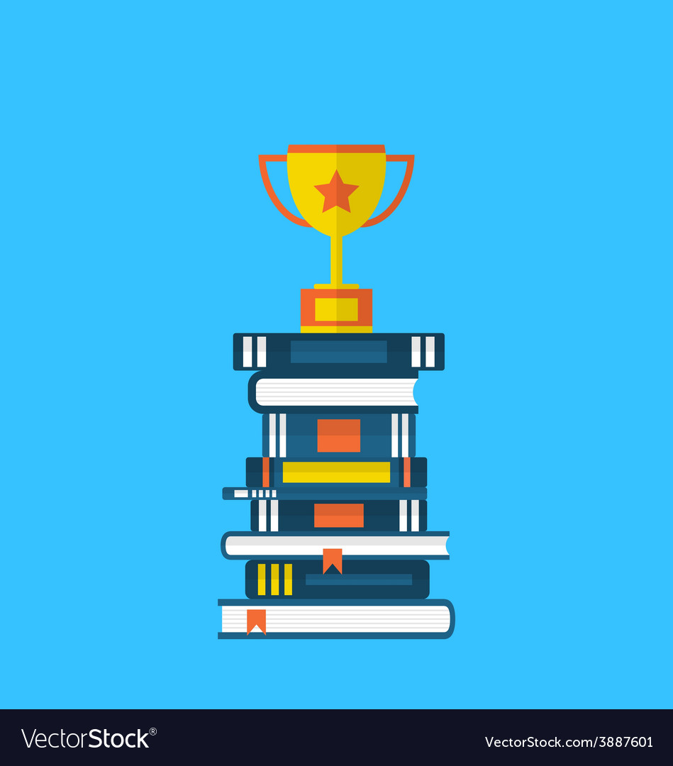 Flat icons of heap textbooks and cup of award - vector | Price: 1 Credit (USD $1)