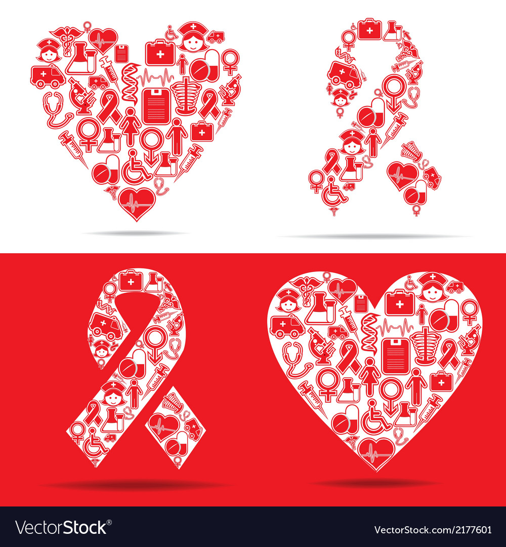 Medical icons make a heart and aids shape vector   Price: 1 Credit (USD $1)