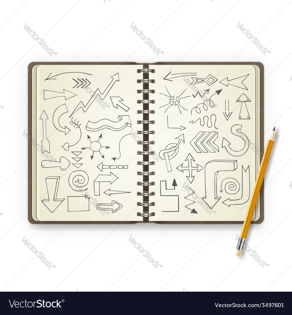 Pencil and open notebook with painted arrows vector | Price: 1 Credit (USD $1)