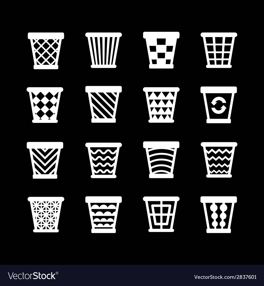 Set icons of trash basket vector | Price: 1 Credit (USD $1)