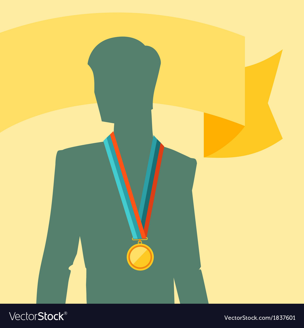 Silhouette of man with premium medal vector | Price: 1 Credit (USD $1)