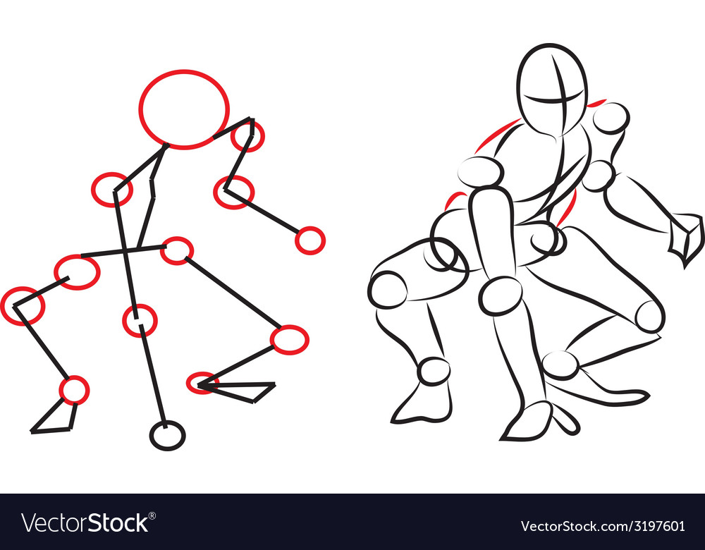 Sketch person playing baseball vector | Price: 1 Credit (USD $1)