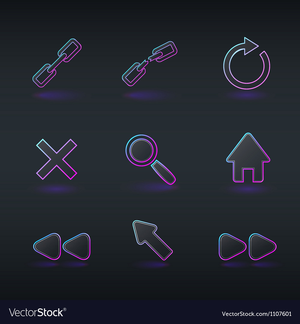 Technology icons and signs in modern neon style vector | Price: 1 Credit (USD $1)