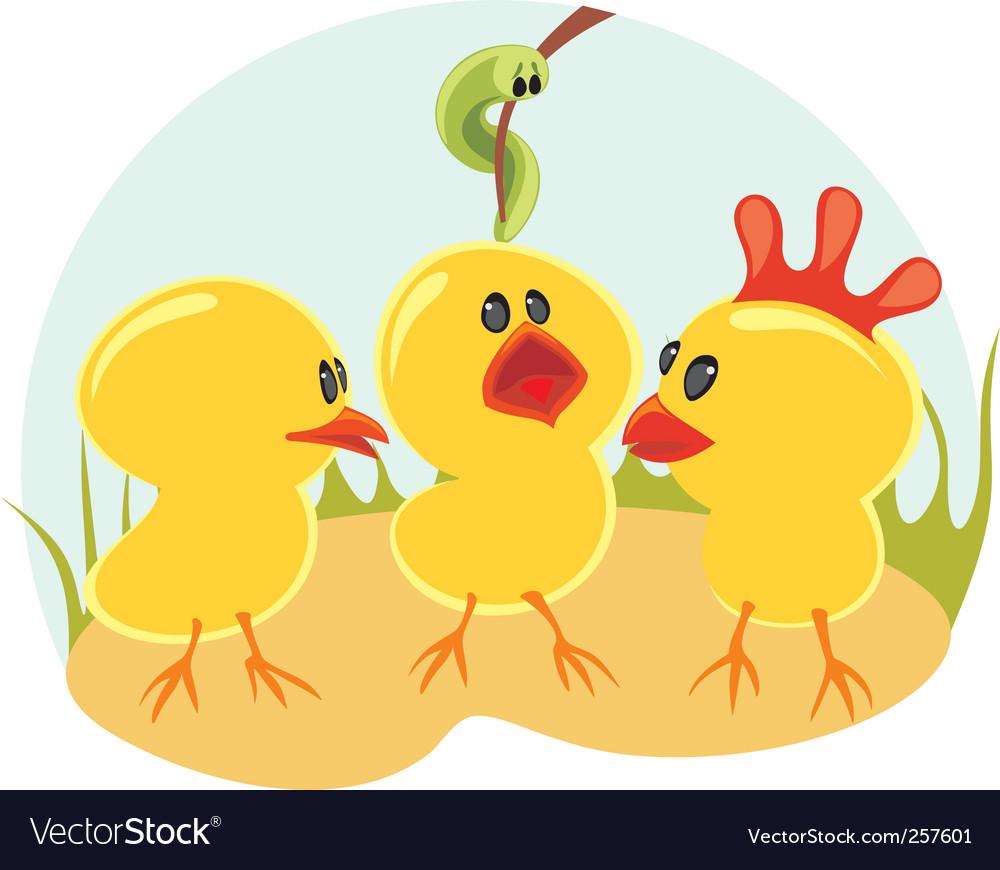 Three little chickens vector | Price: 1 Credit (USD $1)