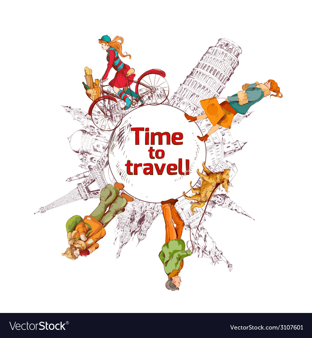 Travel time sketch colored poster vector | Price: 1 Credit (USD $1)