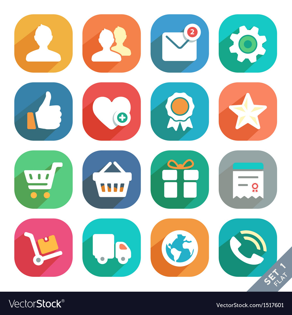 Universal flat icons set for web and mobile app vector | Price: 3 Credit (USD $3)