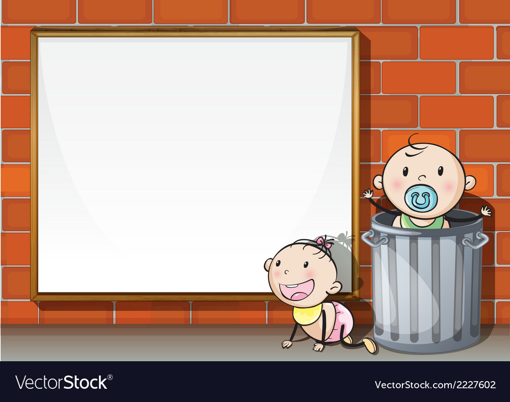 Babies near the wall with an empty signboard vector | Price: 1 Credit (USD $1)