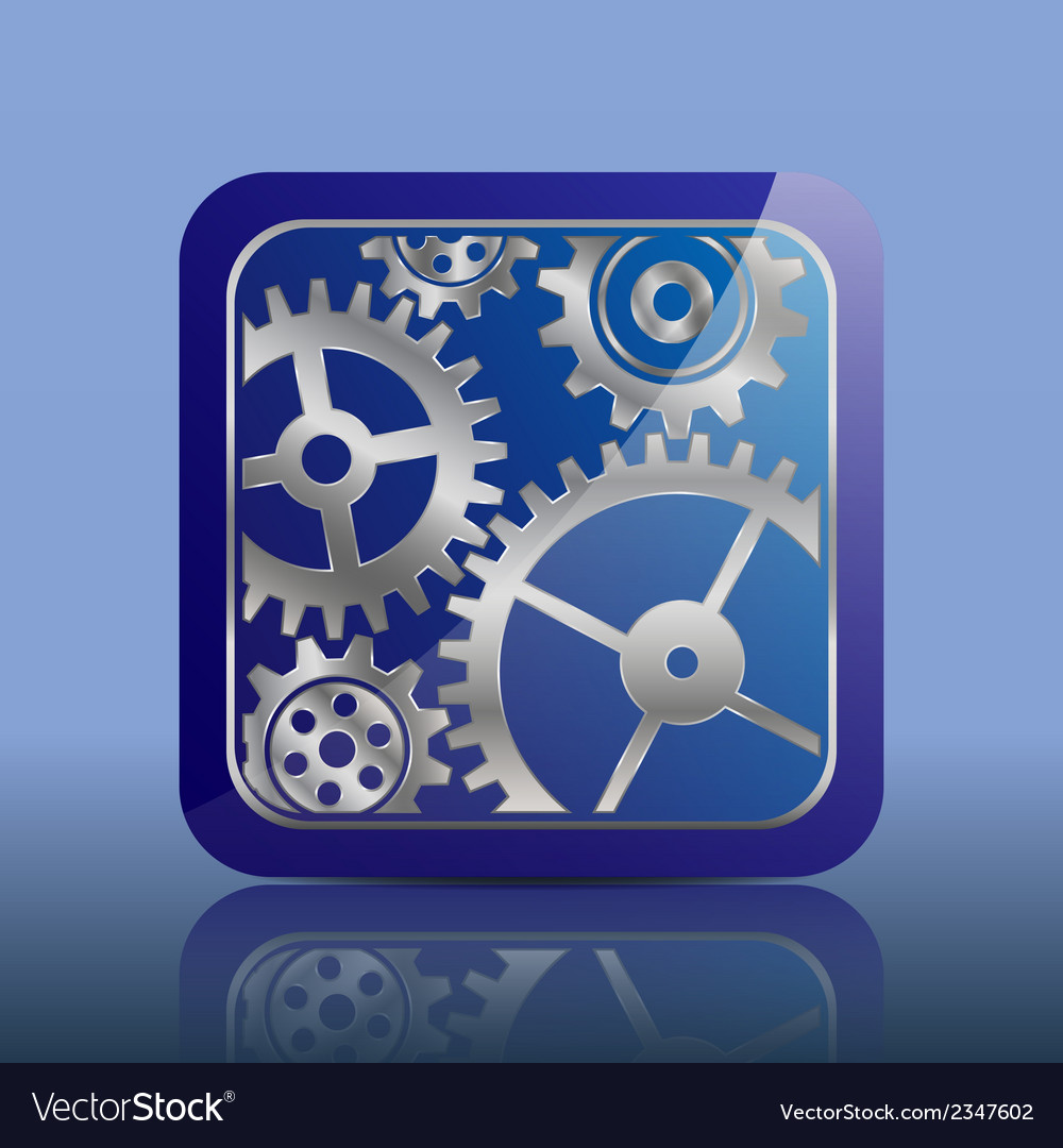 Button blue with gears vector | Price: 1 Credit (USD $1)