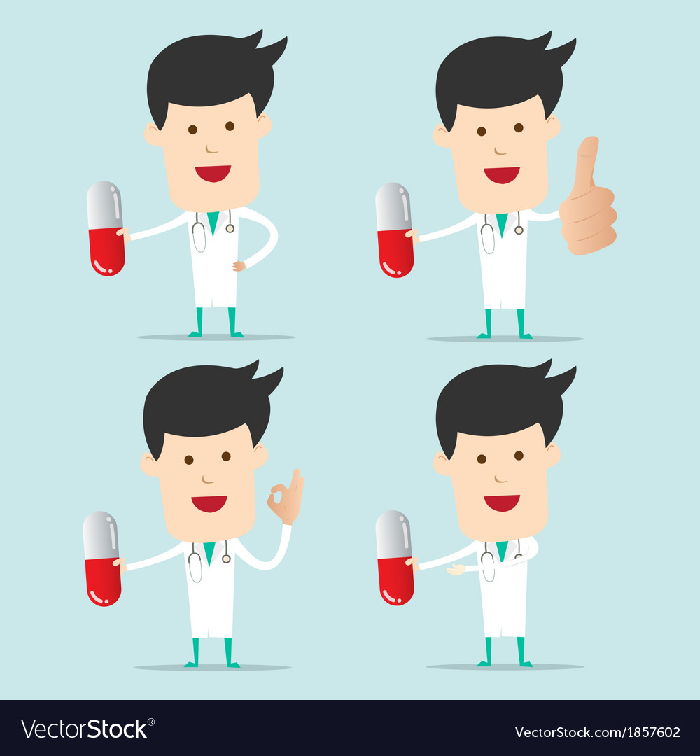 Cartoon doctor character use hand showing one vector | Price: 1 Credit (USD $1)