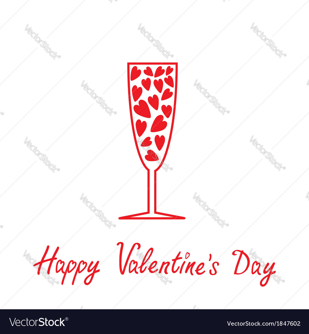 Champagne glass with heart valentin vector | Price: 1 Credit (USD $1)