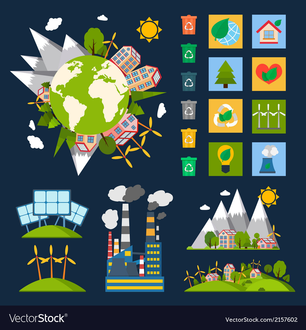 Ecology symbols set vector | Price: 1 Credit (USD $1)