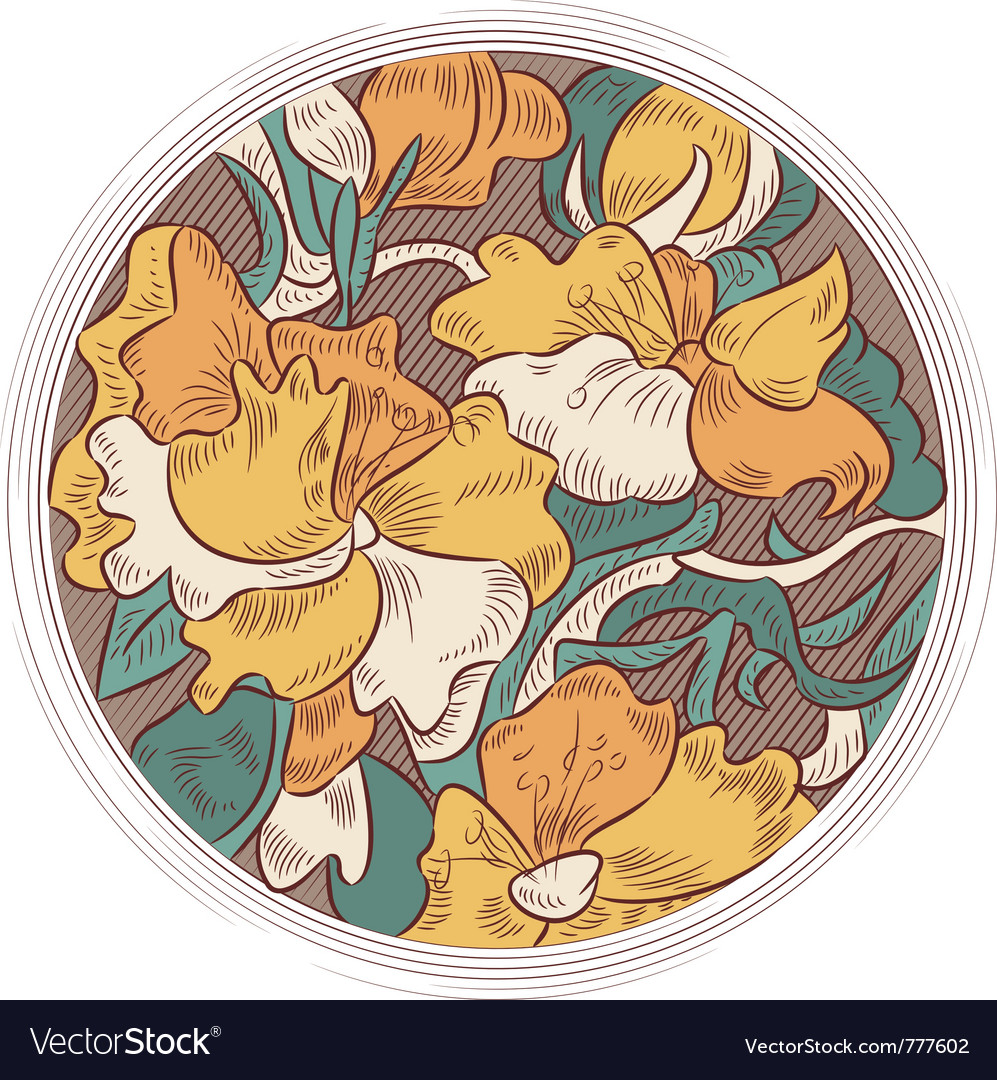 Flower ornament in a circle vector | Price: 1 Credit (USD $1)