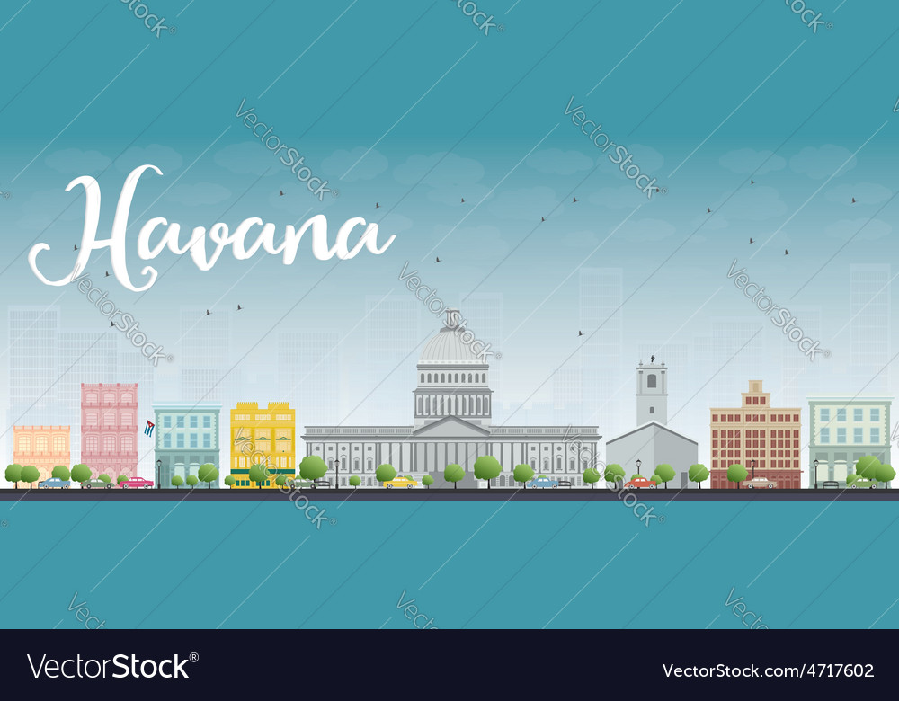 Havana skyline with color building and blue sky vector | Price: 1 Credit (USD $1)
