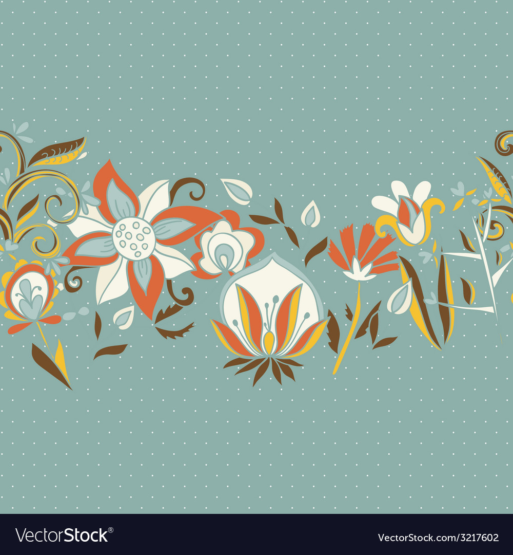 Seamless border texture with flowers vector | Price: 1 Credit (USD $1)