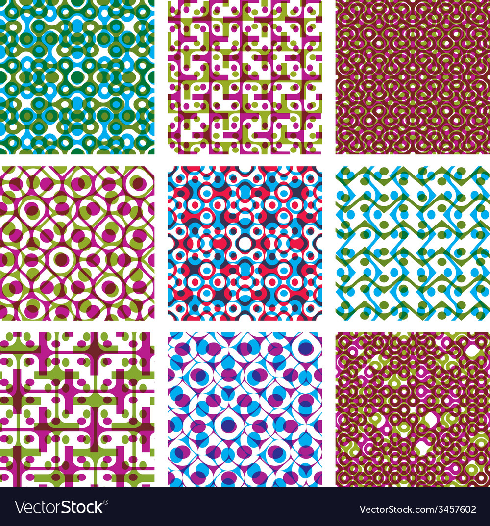 Set of multicolored grate seamless patterns with vector | Price: 1 Credit (USD $1)