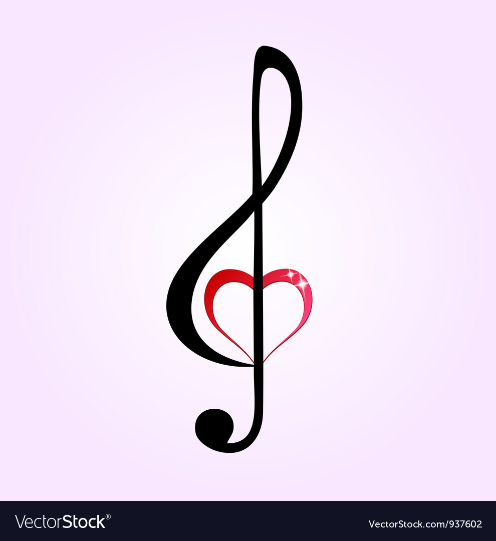 Shiny heart treble clef vector | Price: 1 Credit (USD $1)