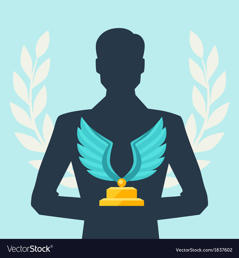 Silhouette of man holding prize vector | Price: 1 Credit (USD $1)