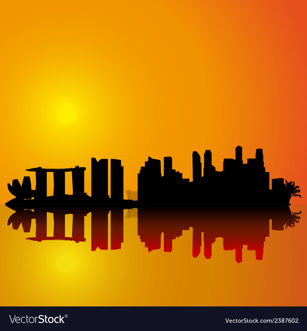 Singapore skyline black silhouette vector | Price: 1 Credit (USD $1)
