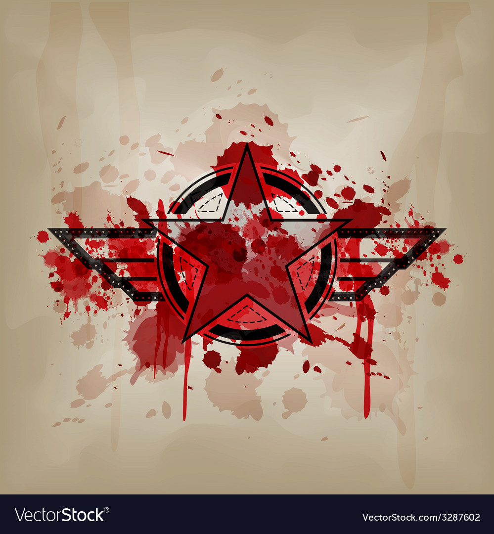 Star symbol with blood war concept vector | Price: 1 Credit (USD $1)