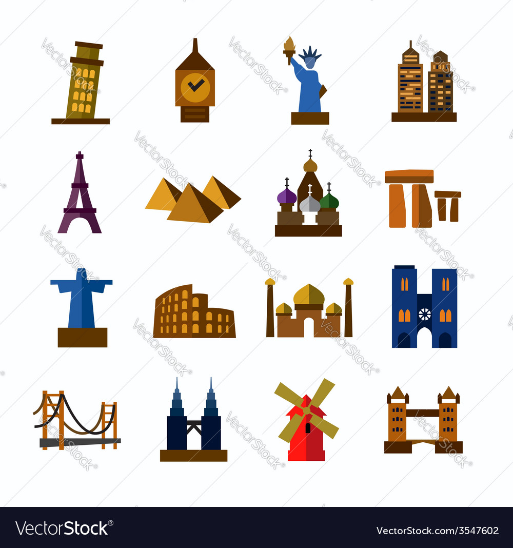 Travel and landmarks icons vector | Price: 1 Credit (USD $1)