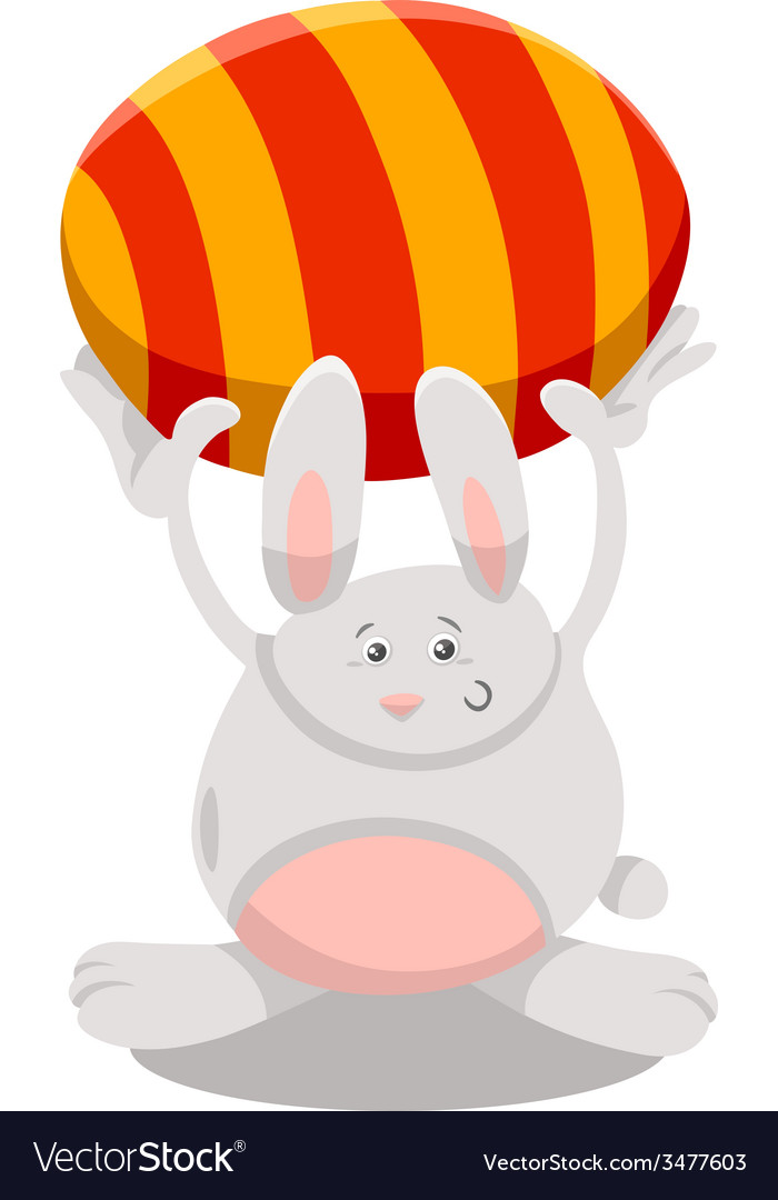 Bunny with easter egg cartoon vector | Price: 1 Credit (USD $1)