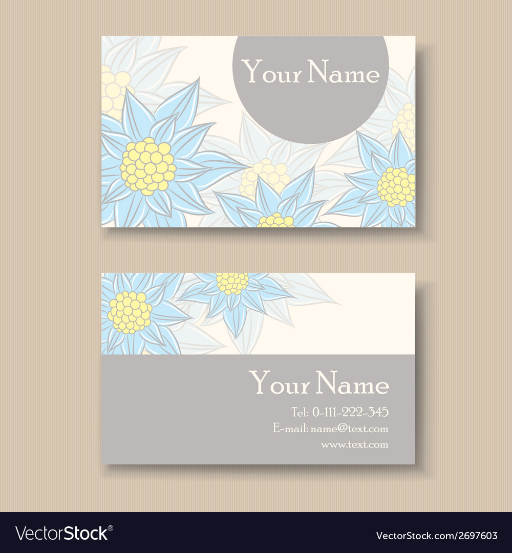 Business card with blue flowers vector | Price: 1 Credit (USD $1)
