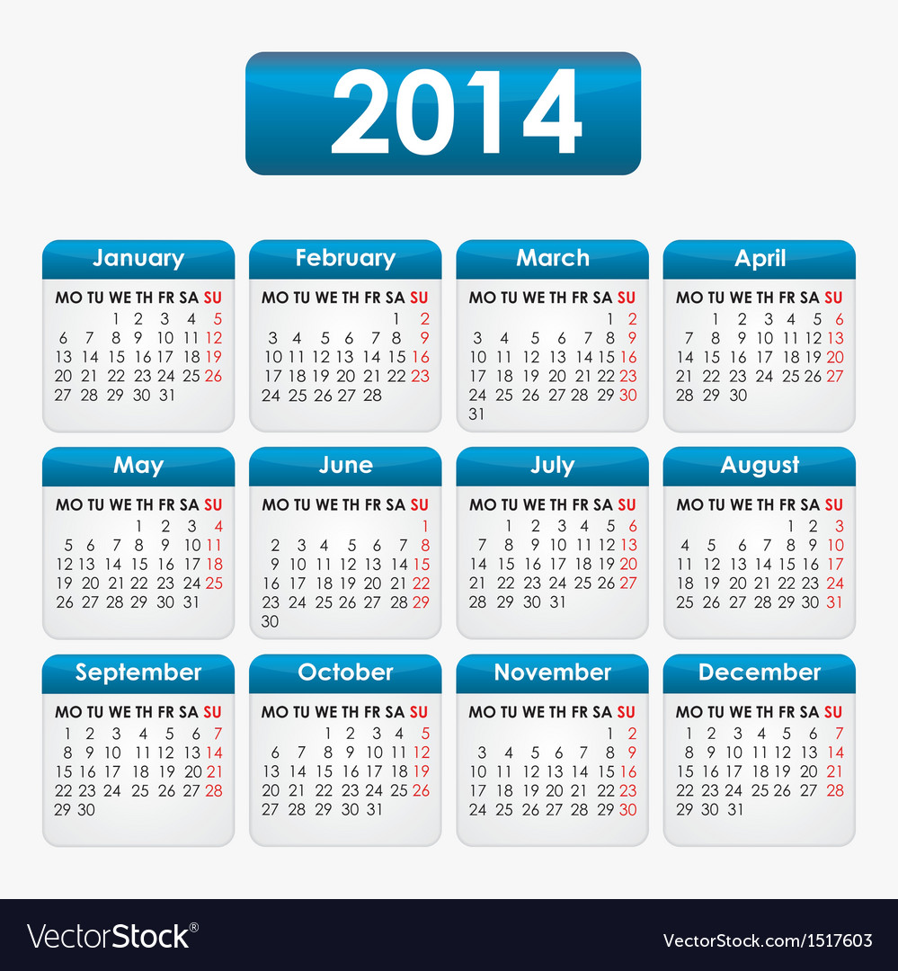 Calendar 2014 vector | Price: 1 Credit (USD $1)