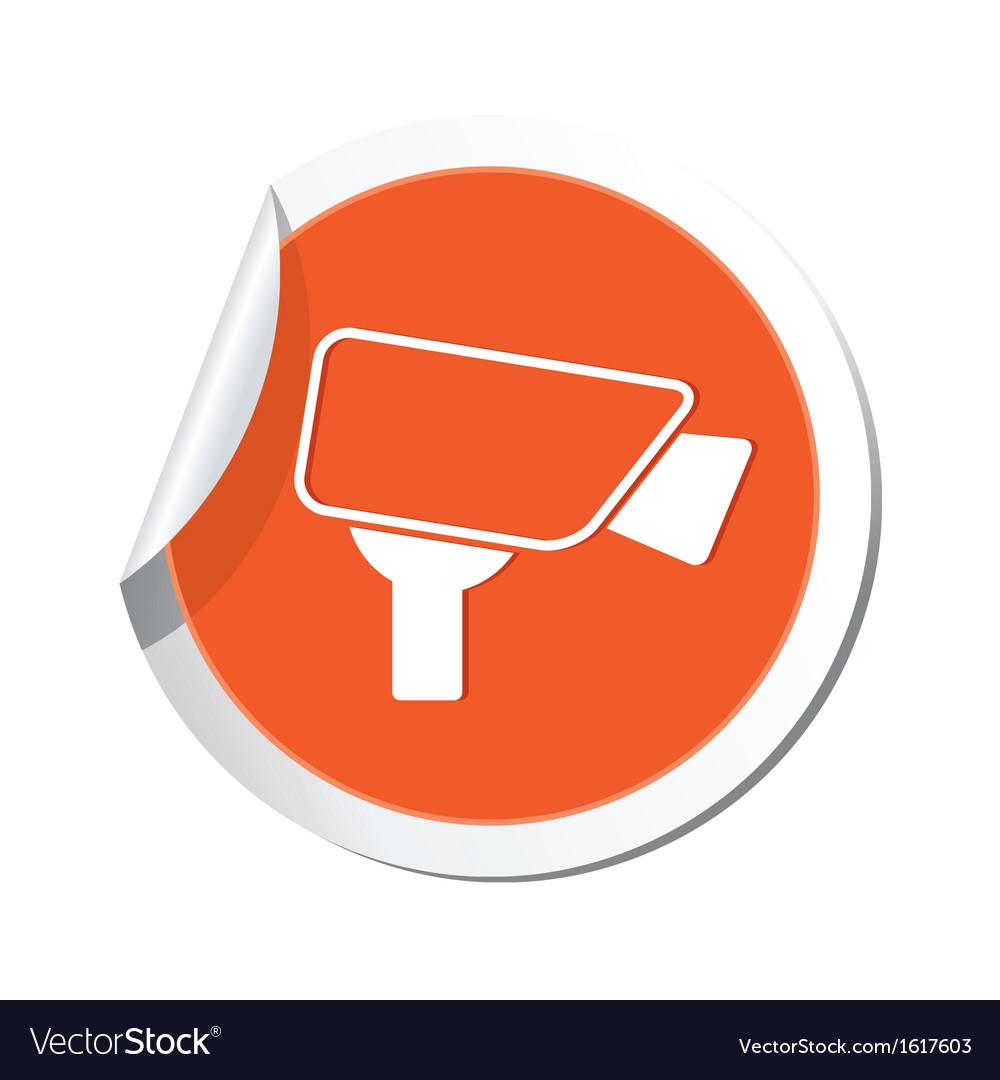Camera icon orange label vector | Price: 1 Credit (USD $1)
