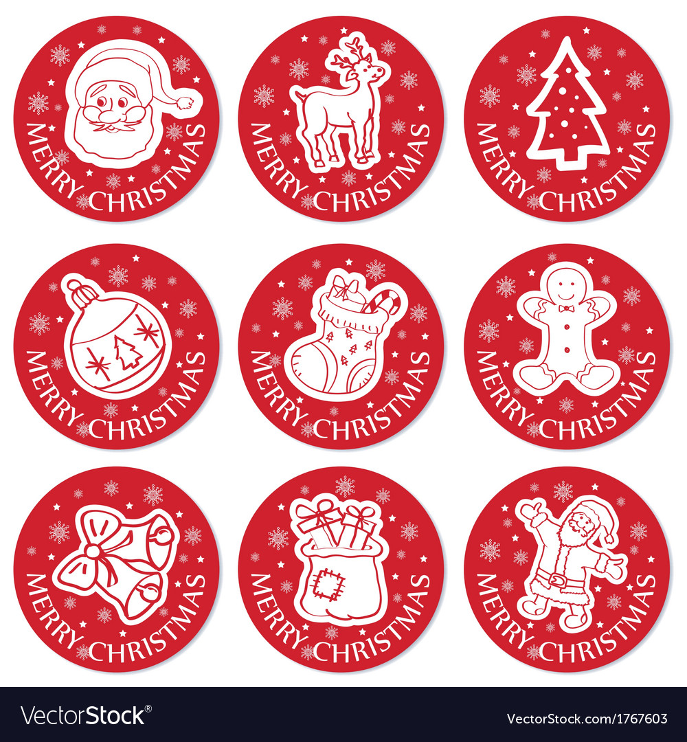 Christmas round cards set vector | Price: 1 Credit (USD $1)