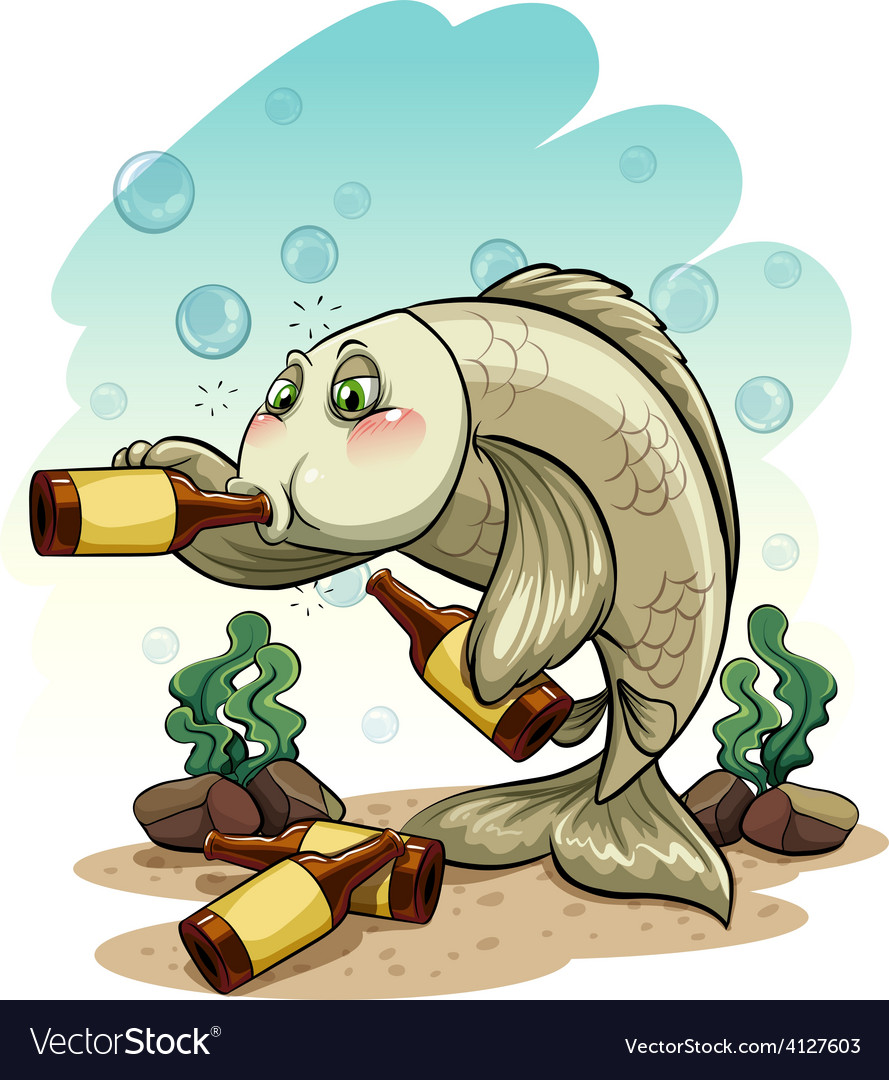 Drunk fish under the sea vector | Price: 3 Credit (USD $3)