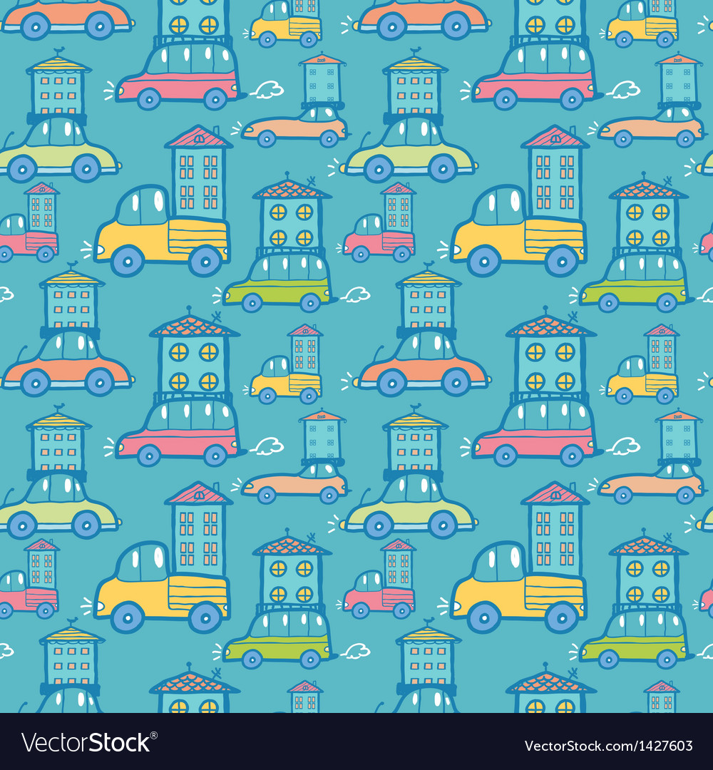 Moving houses on cars seamless pattern background vector | Price: 1 Credit (USD $1)