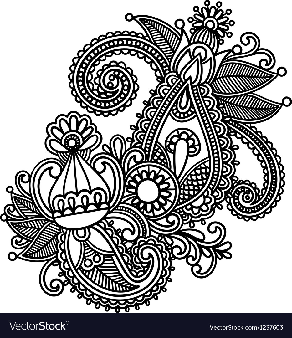 Original hand draw line art ornate flower design vector | Price: 1 Credit (USD $1)