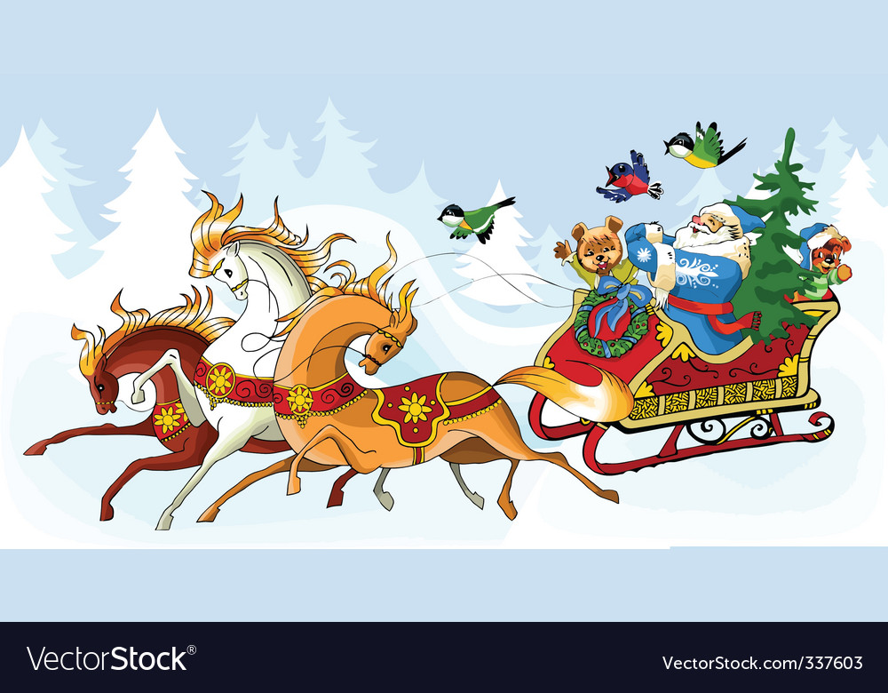 Santa claus and the horses vector | Price: 3 Credit (USD $3)