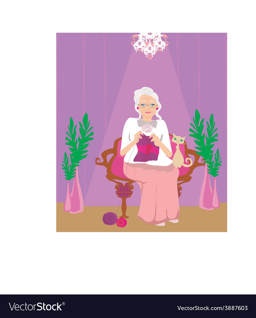 Senior woman knitting vector | Price: 1 Credit (USD $1)