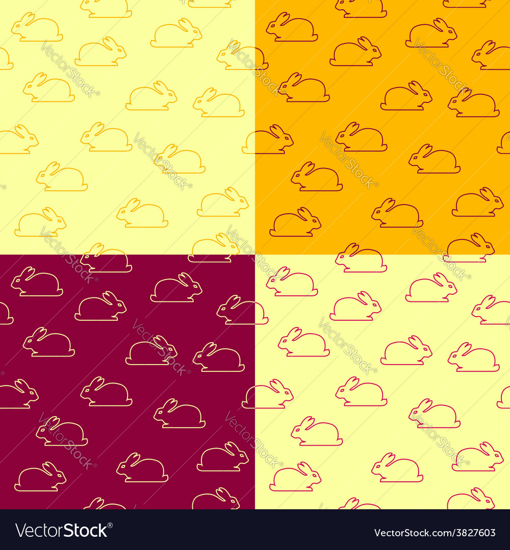 Set of seamless patterns with bunnies vector | Price: 1 Credit (USD $1)