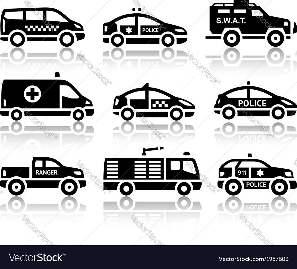 Set of service automobiles black icons vector | Price: 1 Credit (USD $1)