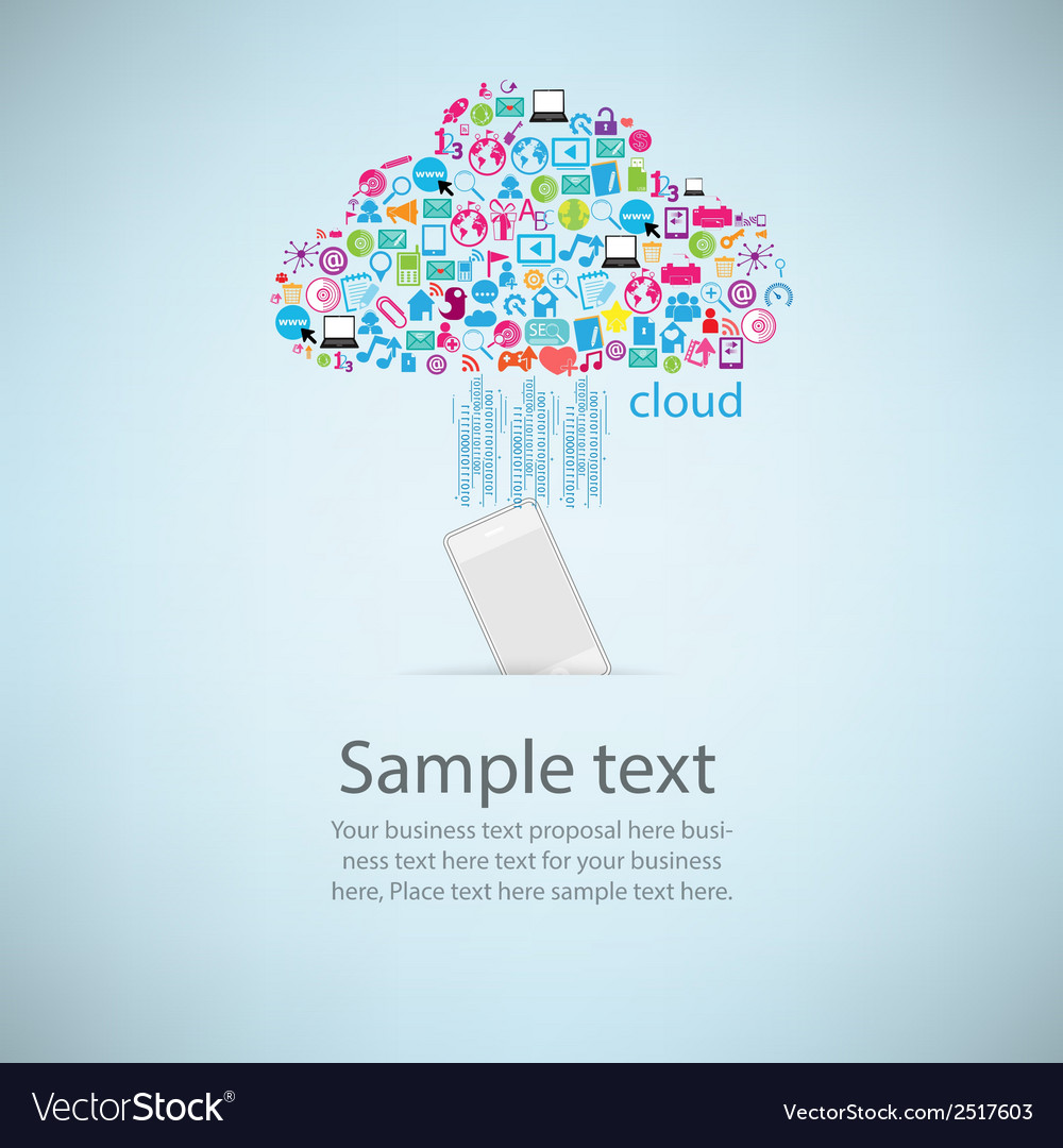 Template design phone idea with clicking cloud vector | Price: 1 Credit (USD $1)