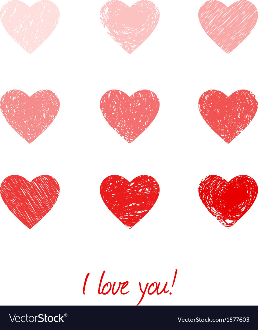 Valentines card with hearts vector | Price: 1 Credit (USD $1)