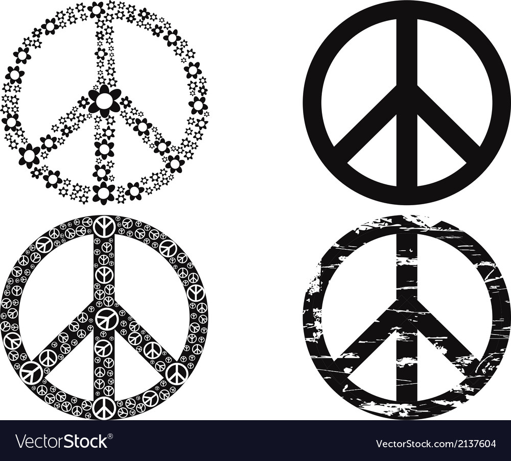 Black peace symbol vector | Price: 1 Credit (USD $1)