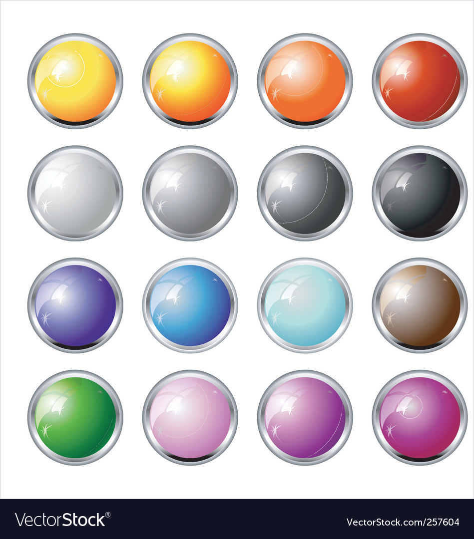 Glass and chrome buttons vector | Price: 1 Credit (USD $1)