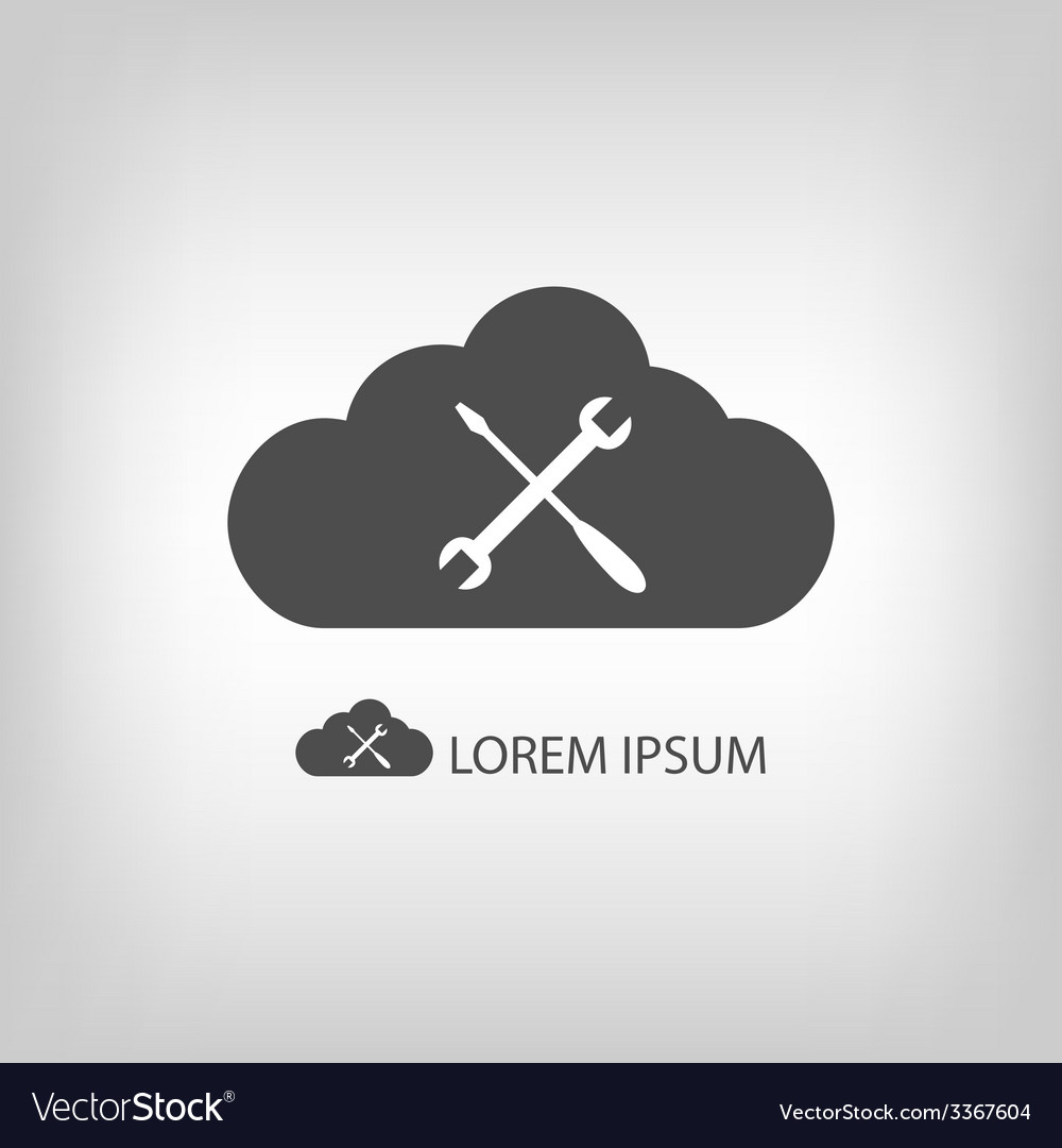 Grey cloud with settings sign vector | Price: 1 Credit (USD $1)