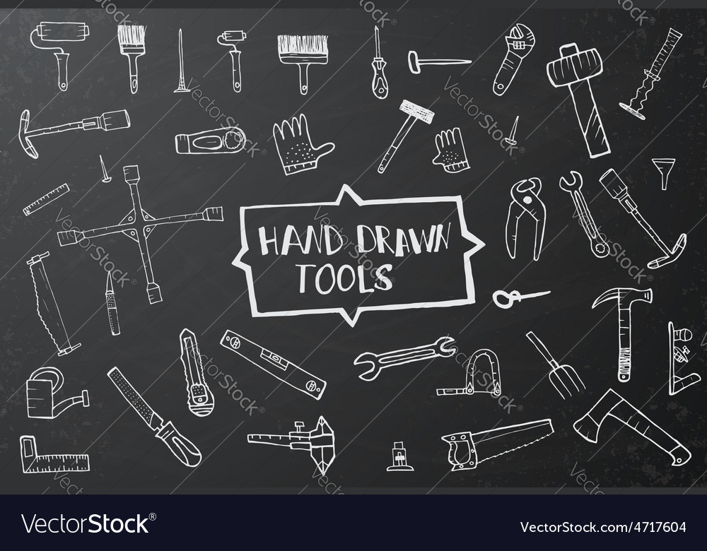 Hand drawn tool icons set vector | Price: 1 Credit (USD $1)