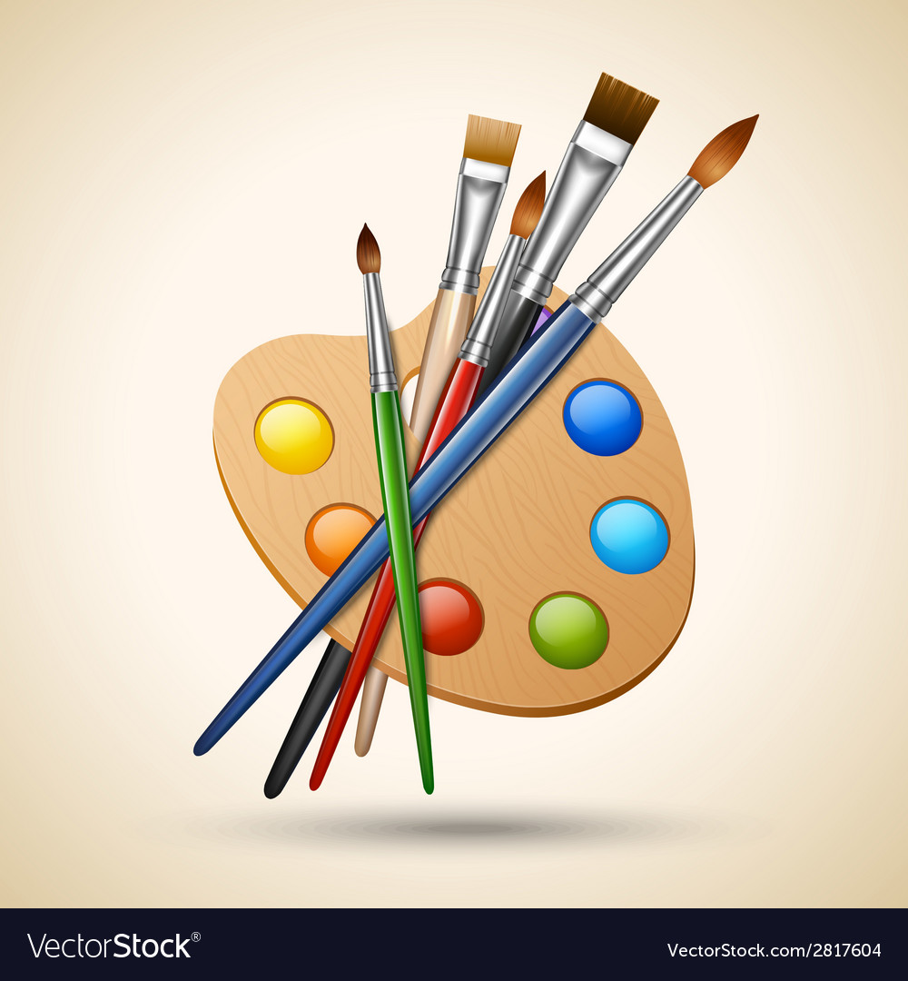 Palette with paint brushes vector | Price: 1 Credit (USD $1)